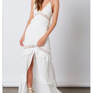 Maxi ruffle/layer white dress